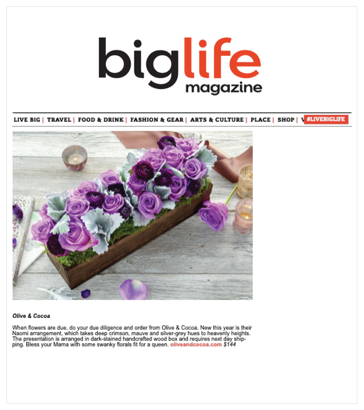 As Seen in BigLife Magazine: Olive & Cocoa