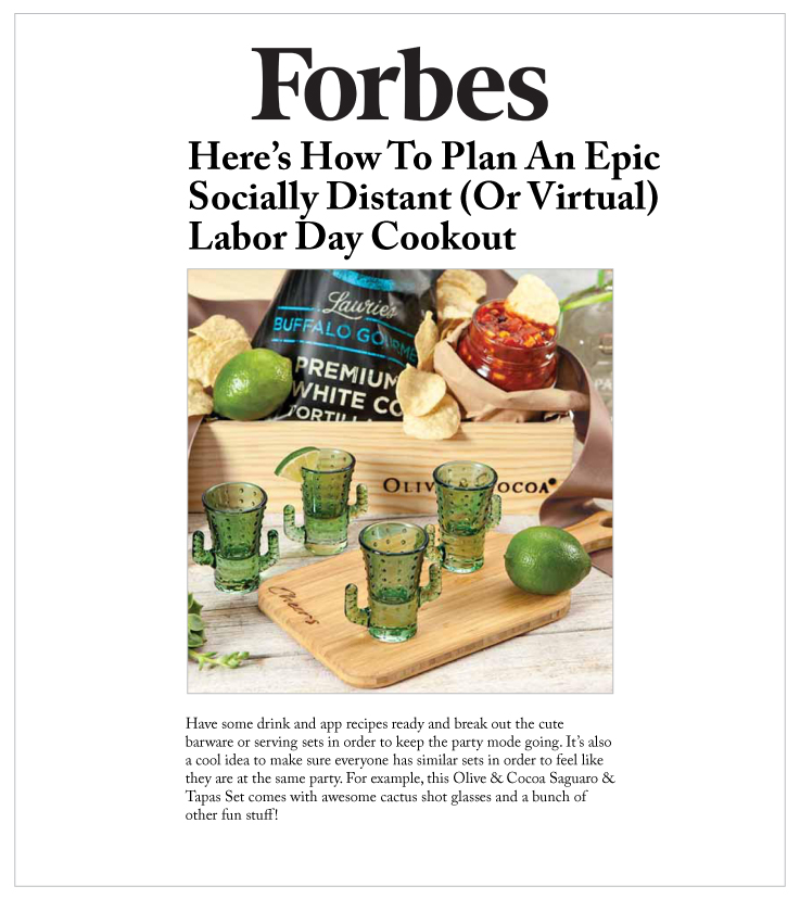 Forbes online highlighted Olive & Cocoa's Saguaro & Tapas Set.