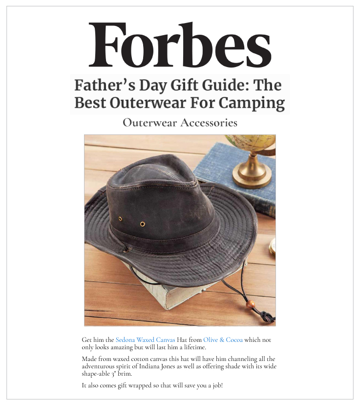 Sedona Waxed Canvas Hat on Forbes.com: Olive & Cocoa