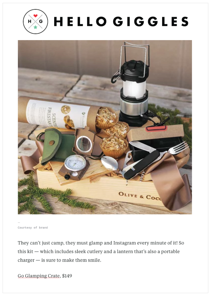 As Seen In Hello Giggles with their Go Glamping Crate
