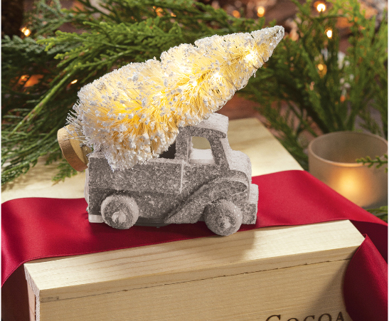 Lighted Silver Truck Ornament