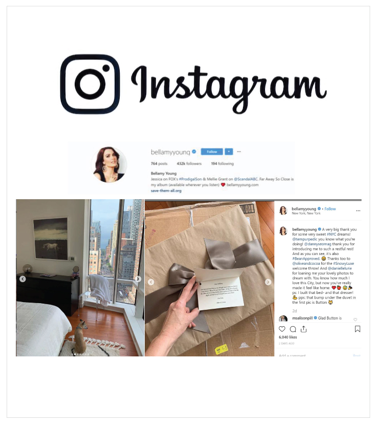 Instagram posting of Actress Bellamy Young highlighting the Olive & Cocoa Snowy Luxe Winter Throw