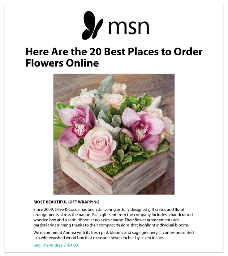 Our Floral Arrangement Delivery Service Featured on MSN.com