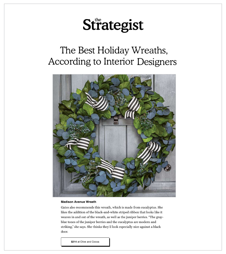 Our Madison Avenue Wreath was Featured on NYMag.com
