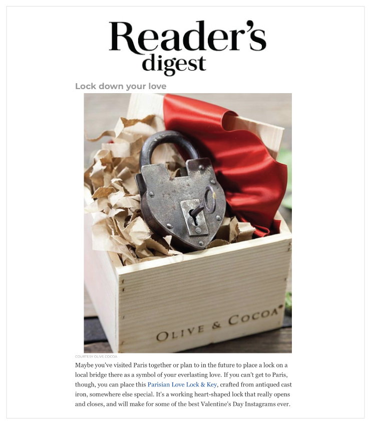 As Seen In Reader's Digest - Olive & Cocoa's Love Lock & Key