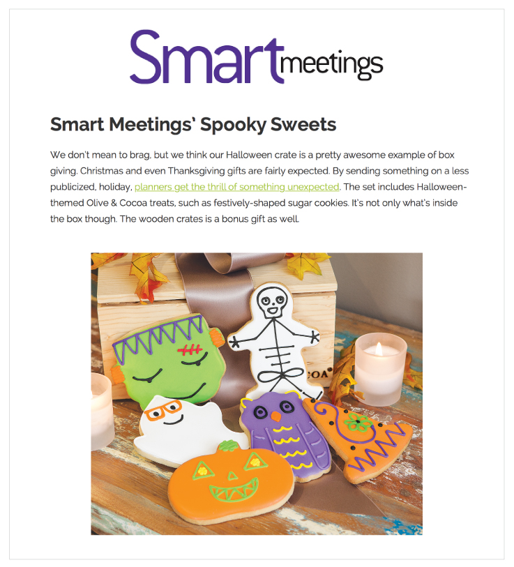 Olive & Cocoa's Frightfully Fun Cookie Crate in Smart Meetings