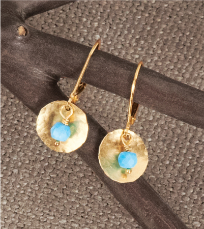 Hammered Gold & Turquoise Earrings