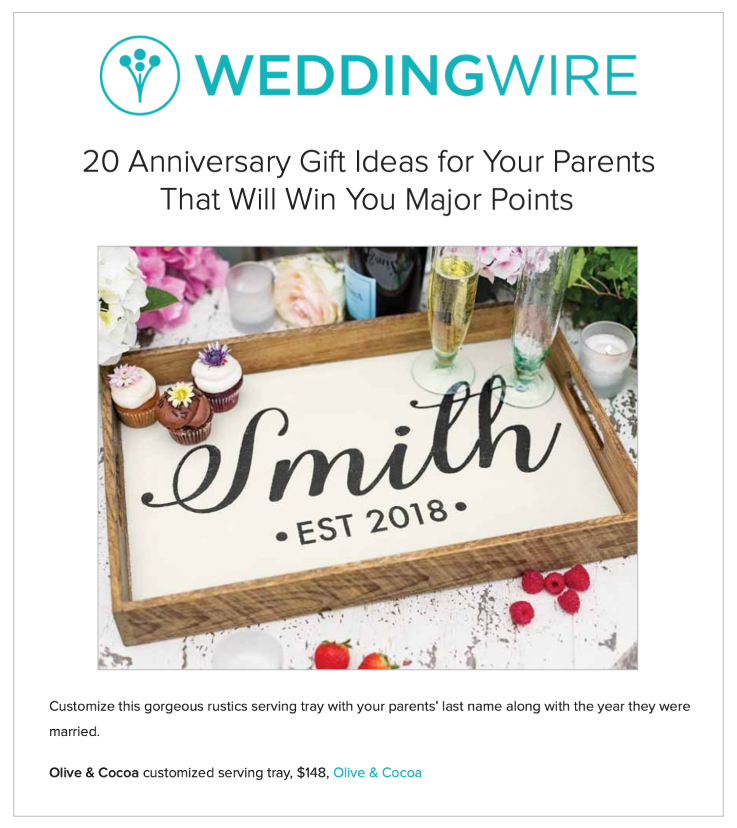 Our Customized Serving Tray Highlighted on WeddingWire.com