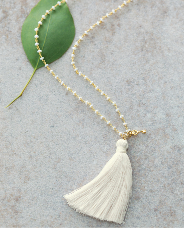 White Tassel & Key Necklace