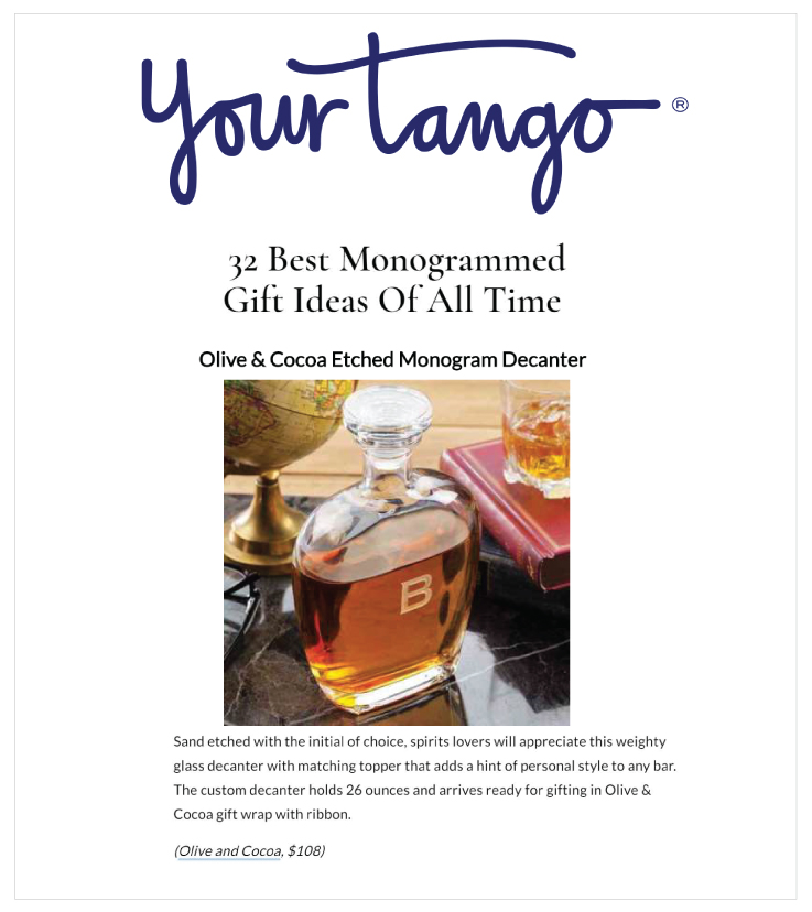 Monogrammed Decanter in YourTango 20190611
