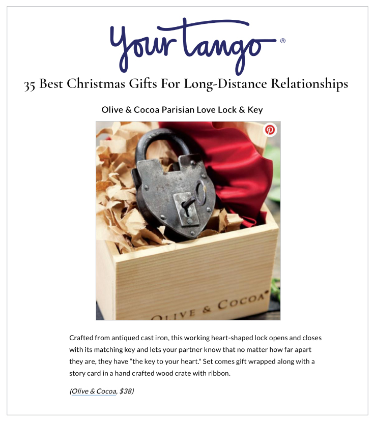 Our Parisian Love Lock & Key was highlighted on YourTango.com's 35 Best Christmas Gifts For Long-Distance Relationships.