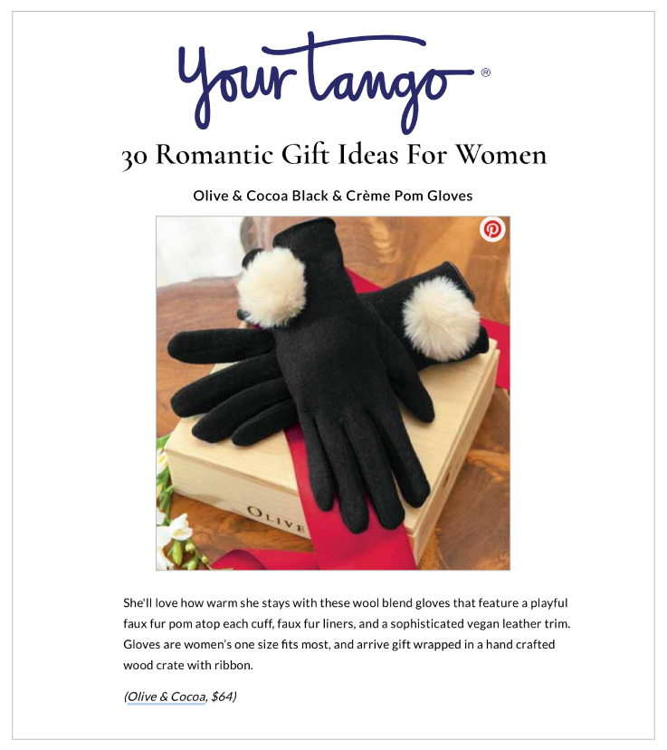 Our Black & Creme Pom Gloves Featured on YourTango.com