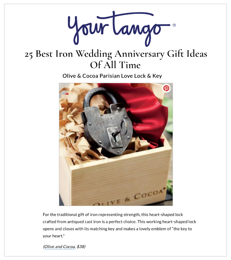 Our Parisian Love Lock & Key and Tequila Shooter Set were featured on YourTango.com's 25 Best Iron Wedding Anniversary Gift Ideas Of All Time.