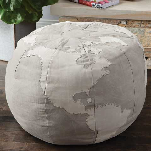 Canvas Globe Ottoman All Gifts Olive Amp Cocoa