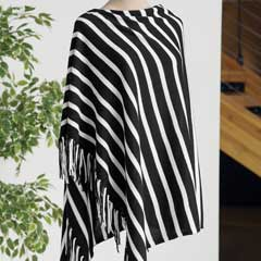 Blanc Striped Poncho