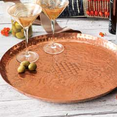 Coppered Fleur Tray