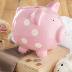 Dotted Pink Piggy Bank