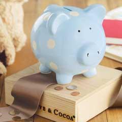Dotted Blue Piggy Bank