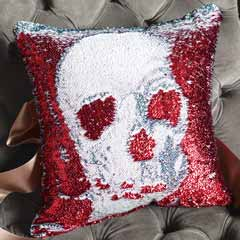 Sequined Skull Pillow
