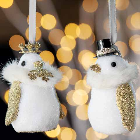 Madame Et Monsieur Penguin Ornaments