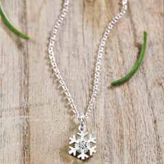 Sterling Snowflake & Diamond Necklace