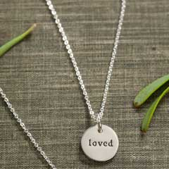 """Loved"" Silver Circle Necklace"