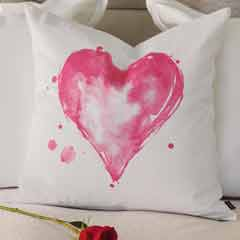 Watercolor Heart Pillow