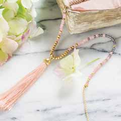Rose Pink Tassel Necklace