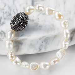 Pearl & Black Crystal Bracelet