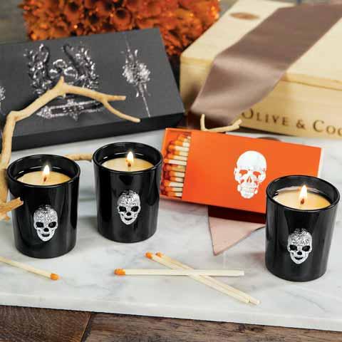 Sparkled Skull Votive Set