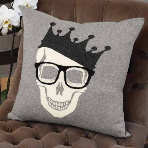 Skull King Cashmere Accent Pillow