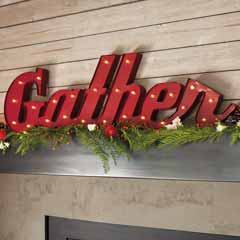 Red Lit Gather Sign