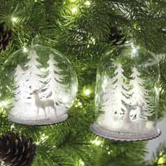 Snowy Pine Glass Ornaments