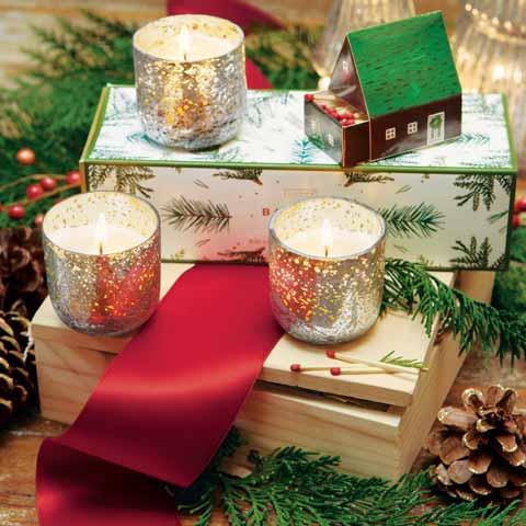 Snowy Votive Trio Candles