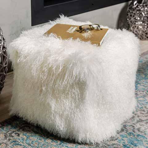 Ivory Lamb Ottoman