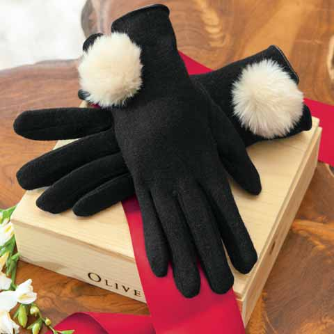 Black & Cr&egraveme Pom Gloves