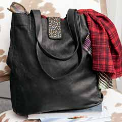 Roxanna Black Leather Tote