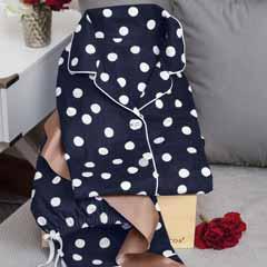 Navy Dot Flannel Pajamas
