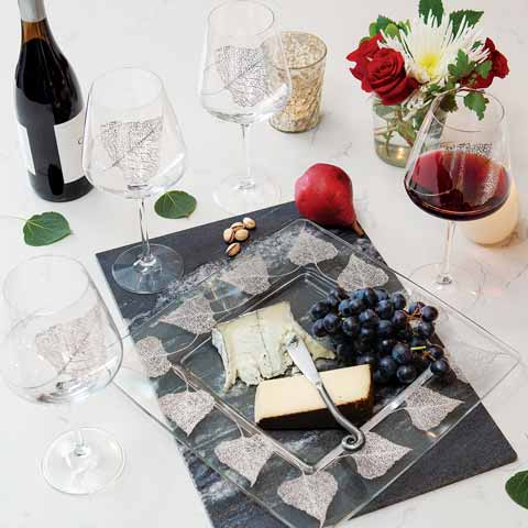Aspen Leaf Wine Glasses & Tray
