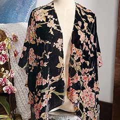 Velvet Burnout Floral Kimono