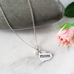 Silver Heart Mom Pendant