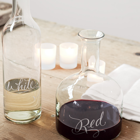 Etched Vino Decanters