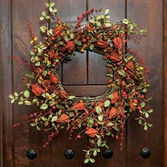 Chinese Lantern & Berry Wreath