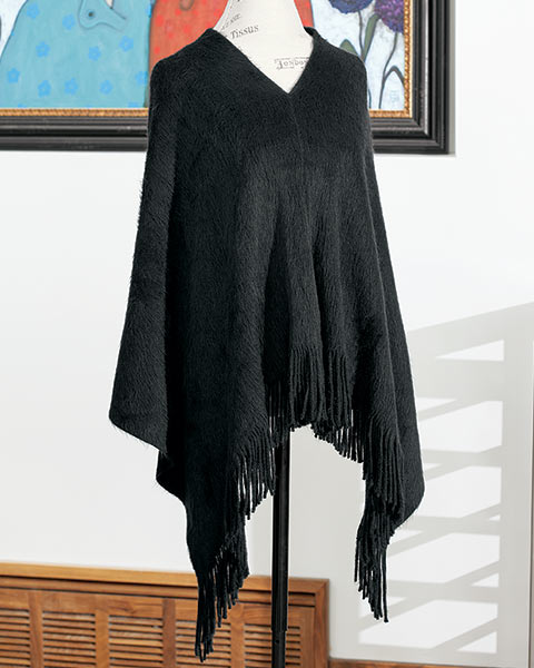 Midnight Fringed Poncho