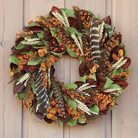 Feather & Wheat Wreath