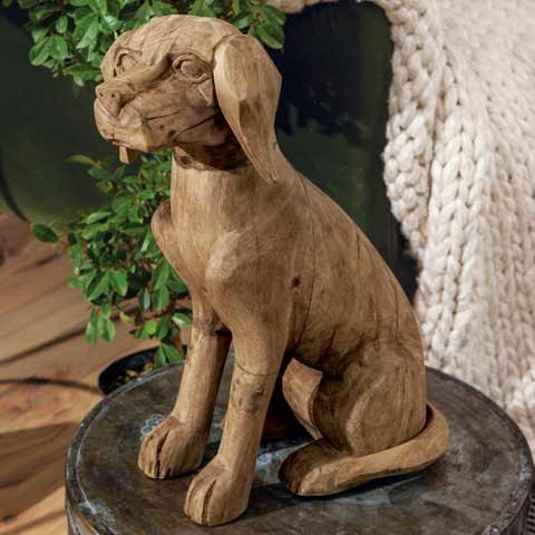 Hand Carved Wood Pup