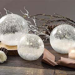 Crackled Lit Globes