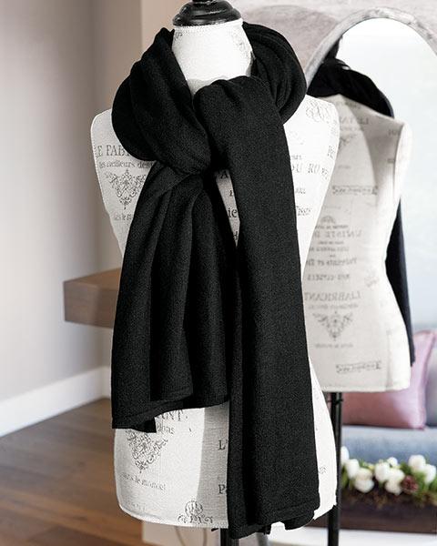 Classic Black Cashmere Scarf