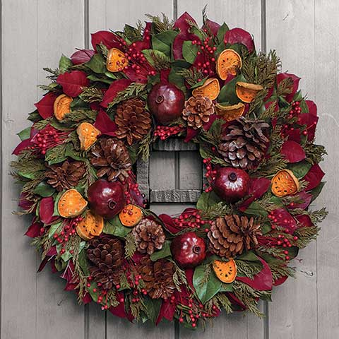 Evergreen Pomegranate Wreath