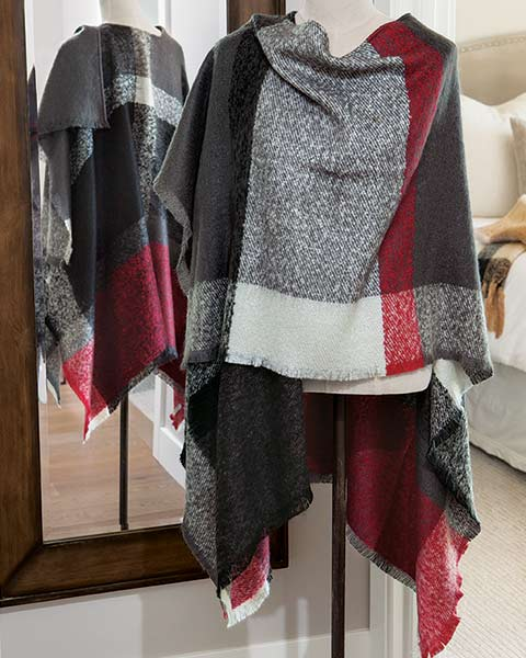 Color Block Plaid  Wrap